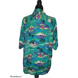 Teal Rayon Short Sleeved Hawaiian Print Button Up Shirt by Network