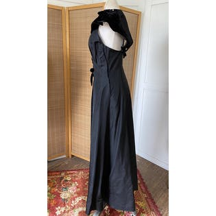 30's Black Gown with Velvet Laces