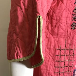 40's Coral Lounge Jacket Japanese Geishas by Miss Fashion