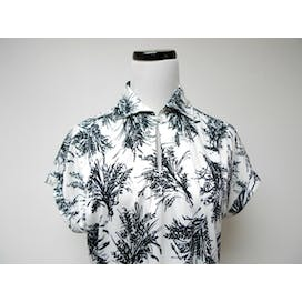 70's Black and White Printed Poly Shirt