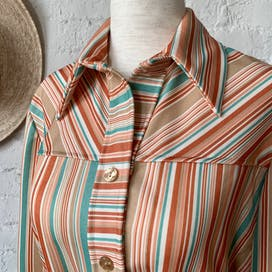 70's Long Sleeve Striped Blouse with Waist Tie