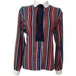 1970's Multicolor Striped Blouse with Black Tie Neck by Campus Casuals