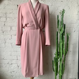 80's Blush Pink Long Sleeve Dress by Liz Claiborne