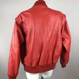 80's Red Leather Jacket by Deerskin