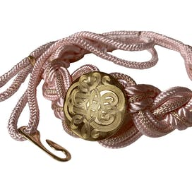 80's Pink Braided Rope Belt with Engraved Gold Medallion