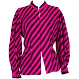 80's Fuchsia & Black Stripe Blouse