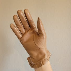90's Taupe Leather Gloves by Miu Miu