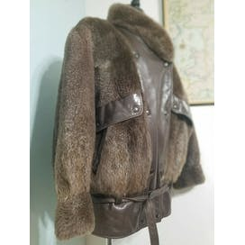 80's Plucked & Natural Beaver Fur/Leather Bomber Jacket Coat by Birger Christensen