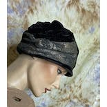 another view of 20's/30's Black Velvet and Gold Metallic Print Wrapped Cloche by Chic Maid New York