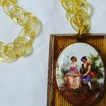 another view of 20's Art Deco Bakelite/porcelain/celluloid Necklace by Unsigned Art Deco