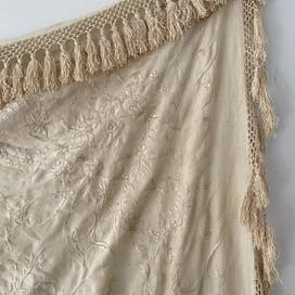20's Antique Ivory Silk Embroidered Piano Shawl