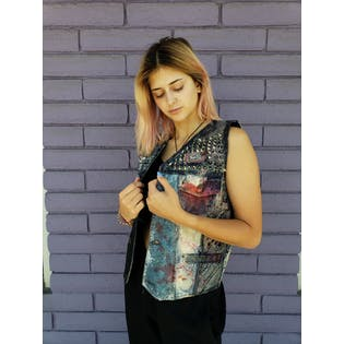 Reversible Hand Painted Vest with Studs by Fausco Di Roma