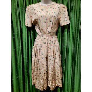 40's Birds On Twigs Novelty Print Dress