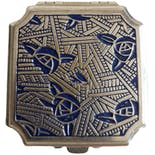 another view of 20's Art Deco Marshall Fields Compact by Blue Rose Lanchere