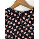 another view of 80's Bubblegum Pink Polka Dot Keyhole Silky Blouse by Michelle Staurt