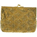 another view of 3 Piece Gold Beaded Clutch, Coin Purse and Lipstick Case Set by Bechamel