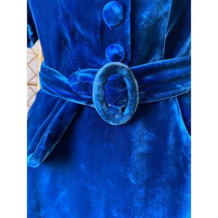 30's Cobalt Blue Rayon Velvet and Lace Dress