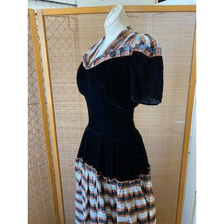 30's Velvet and Plaid Puff Sleeve Gown