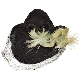30's/40's Black Birdcage Hat with Feather Detailing by Maynor Hats