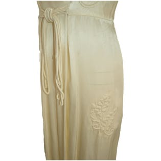 30's Ivory Wrap Dress with Floral Ivory Embroidery by Textron