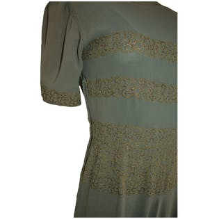 30's Sage Green Dress with Gold Embroidery by Original Design