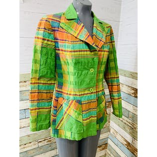 70's Green and Multicolor Plaid Blazer
