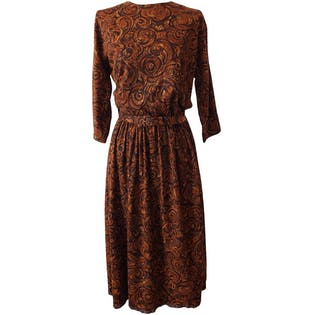 Quarter Length Sleeve Brown and Orange Patterned Dress