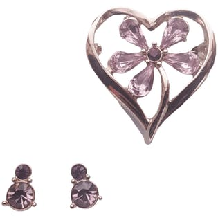 Lilac Rhinestone Heart Pin & Earrings by Monet
