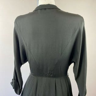 40's/50's Black Button Dress with Ribbon Trim by Carl Naftal