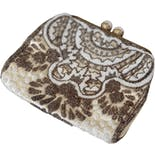 40's Ivory and Bronze Beaded Hinge Clutch