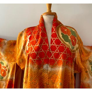 40's Japanese Furisode Orange Kimono Robe