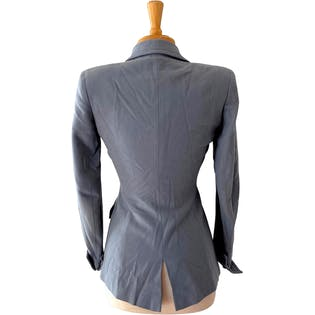 40's Slate Blue Tailored Blazer Suit Jacket by Amy Linker