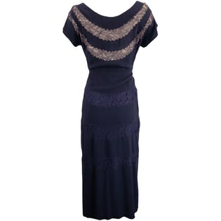 40's Navy Dress with Lace and Nude Underlay