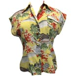 40's Yellow Printed Hawaiian Top with Fruit Buttons by Kamehameha