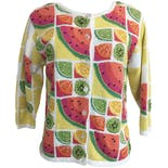90's Beaded Fruit Print Cardigan
