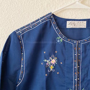 50's Embroidered Cotton Short Sleeve Blouse by Lily