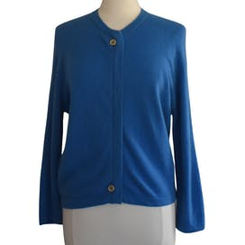 50's Blue Cashmere Cardigan Sweater by Braemar For Peck And Peck