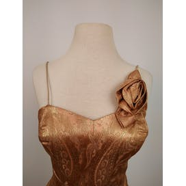 50's Golden Copper Paisley Brocade Cocktail Dress by Junior Miss Of California