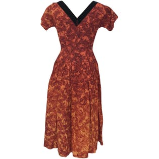 50's Orange Ombre Floral Dress by Natalynn