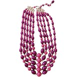 50's Pink and Purple Beaded Necklace with Butterfly Details