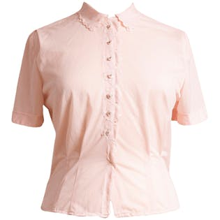 50's Pink Flower Petal Button Up by Baroness