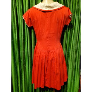 50's Red with White Rhinestones Collar Button Up Dress