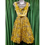 another view of 50's Yellow and Gray Floral Party Dress with Self Belt