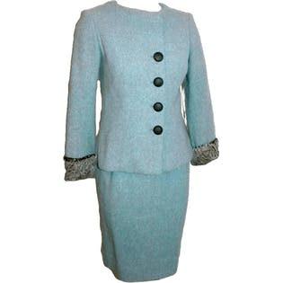 50's/60's Blue Wool Suit Fur Trim