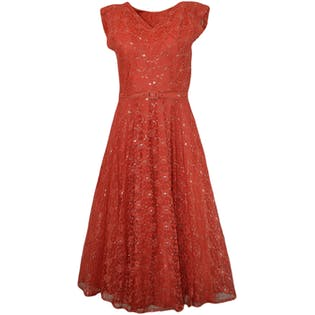 50's Coral Lace Party Dress