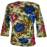 another view of 50's Sequin Flower Sweater by Frances Lesley
