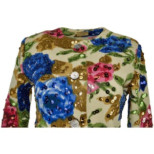 50's Sequin Flower Sweater by Frances Lesley