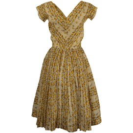 50's Yellow Floral Dress by Suzy Perette