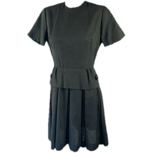 50's Brown Peplum Sheath Dress with Button and Pleats by Alison Ayres