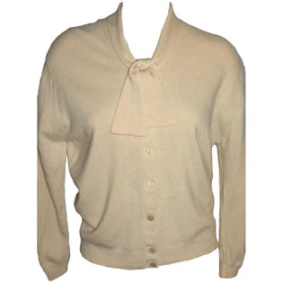 50's Cashmere Cardigan with Bow Collar by Pringle Of Scotland